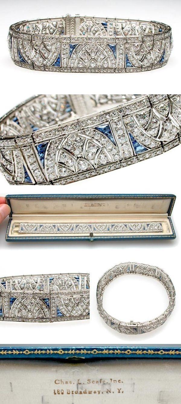 Art Deco Antique Platinum, Diamond  Blue Sapphire Cuff Bracelet, circa 1920  Pues nos sacrificamos... jajaja...