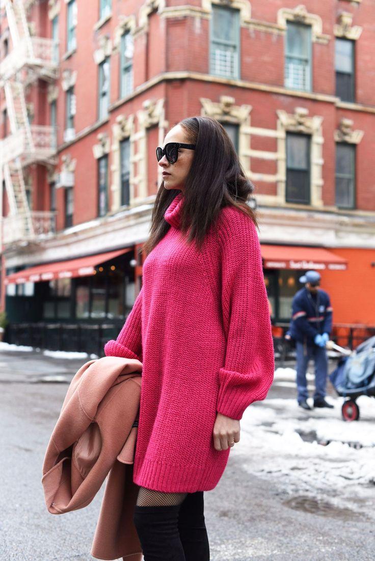 Pink outfit – Monki knit dress and Sam Edelman Bernadette overknees