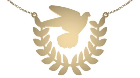 World Peace Day gold plated jewelry necklace Commit to peace and we start with inner peace so it may expand outwards