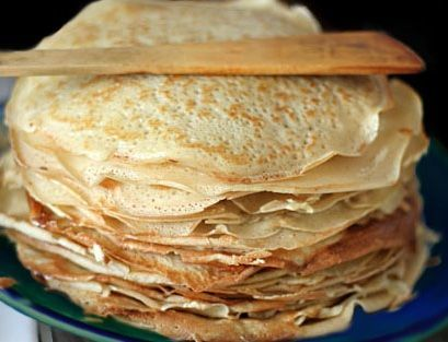 Grammy's Nalesniki (Polish Crepes)- we used to fill ours with applesauce or jam and sprinkle with powdered sugar. Yum :)