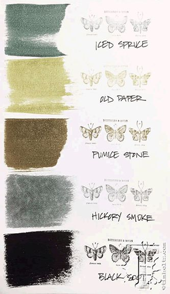 Here's how the new Tim Holtz distress color Hickory Smoke fits into the Tim Holtz distress color palette.