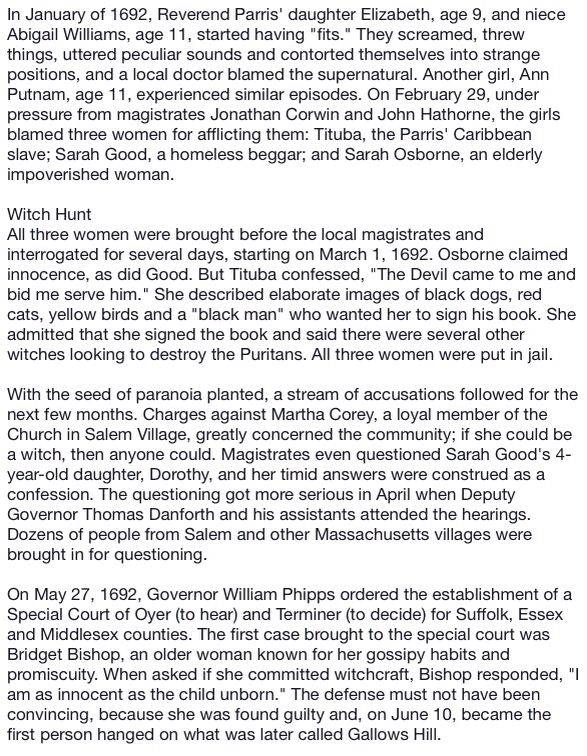 a history of the salem witchcraft trials Salem possessed: the social origins of witchcraft placed the trials as a battle between rural, conservative salem village and cosmopolitan, prosperous, maritime salem town mary beth norton's in the devil's snare took a different approach by identifying the indian war.