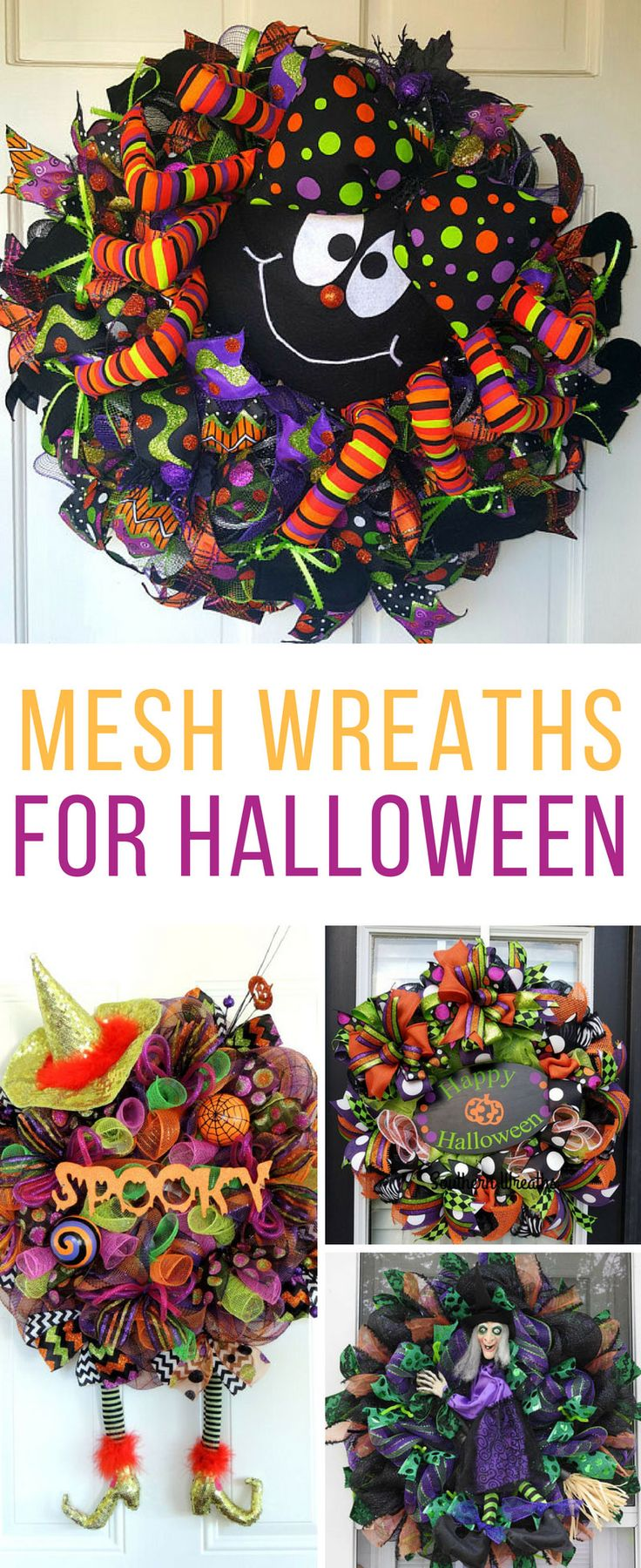 These deco mesh Halloween door wreaths are fabulous! Thanks for sharing!