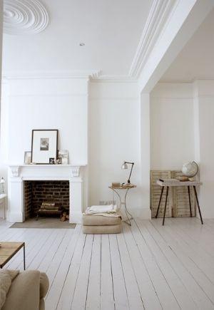 white painted hardwood floors