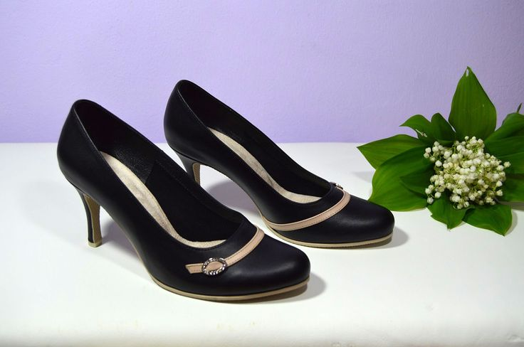 Pohodlné kožené boty v tanečním stylu - pro svatební maminku - lodičky model Laura v kombinaci černá + nude pravá kůže.