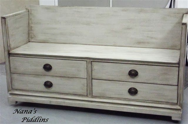 Amazing Dresser Turned Into Awesome Mudroom Bench By Nana's Piddlins - Featured On Furniture Flippin'