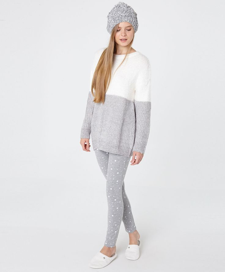 Flocked and fluffy mix jersey - OYSHO