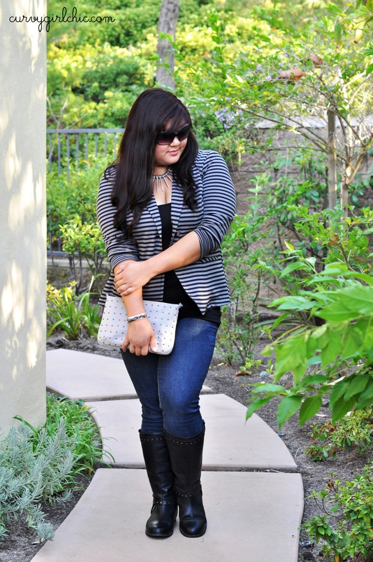 Striped Blazer via Curvy Girl Chic - Plus Size Fashion and Style Blog: hello from nyc!