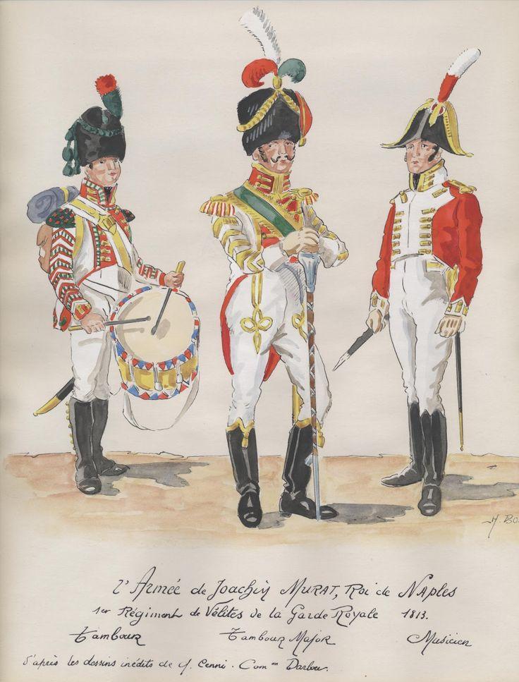 Tamburo, tamburo maggiore e musicante del 1 rgt. delle velite della guardia reale di Murat
