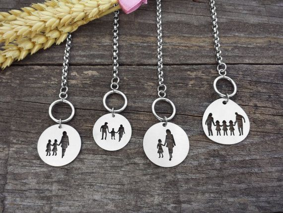 Family Silver Bracelet, Family Jewelry, Stainless Steel, Mother, Daughter, Son, Father, Kids, Parents, Couple, Silhouette Cutout