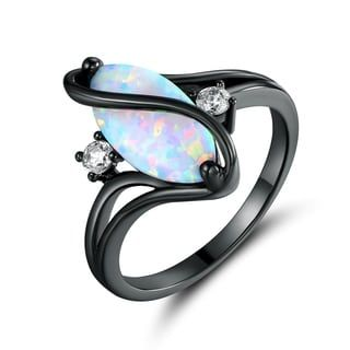 Shop for Black Rhodium Plated White Fire Opal & Cubic Zirconia Accents Ring. Ships To Canada at Overstock.ca - Your Online Jewelry Destination!  - 22775671