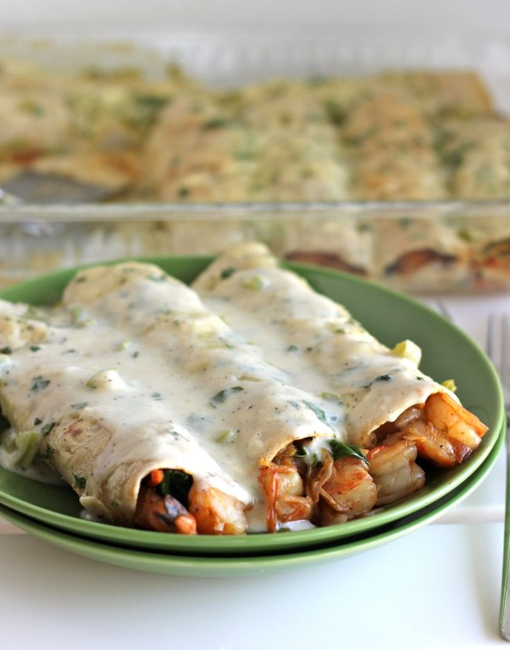 Roasted Shrimp Enchiladas with Jalapeño Cream Sauce - Damn Delicious