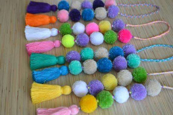 Pom pom bag charm Tassel bag charm Neon pink tassel bag charm Bag accessories Bo…
