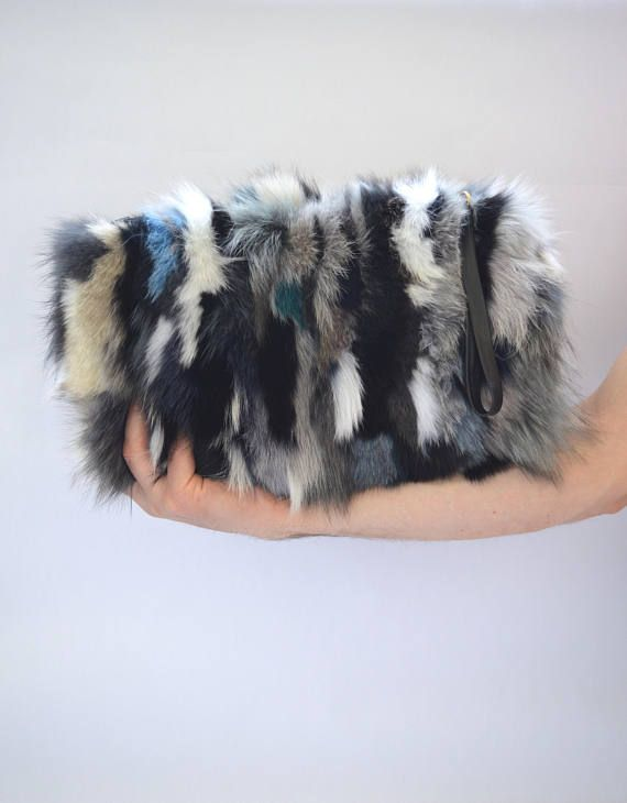 Real fox fur bag real fur clutch bag genuine leather handbag