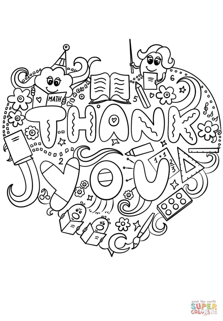 Thank You Teacher Doodle Super Coloring Coloring pages
