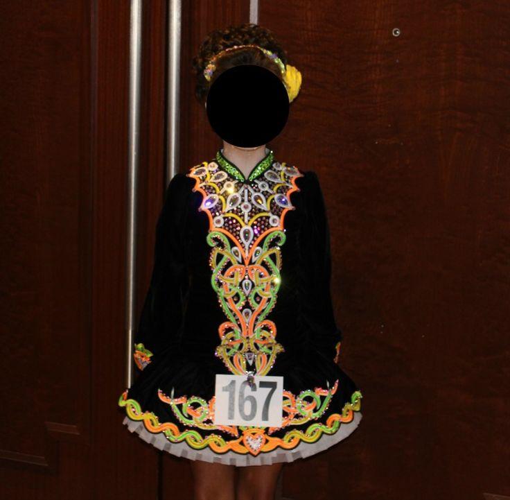 Glamorous Black Devlin Designs Irish Dance Dress Solo Costume For Sale