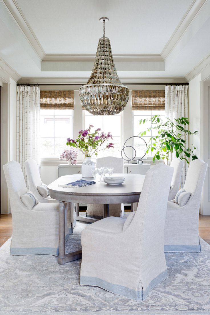 Coastal Dining Room With Shell Chandelier