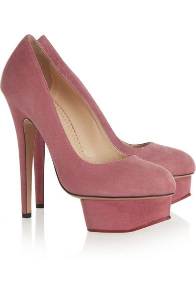 Heel measures approximately 145mm/ 6 inches with a 35mm/ 1.5 inches island platform Dark-pink suede Slip on Designer color: Mauve/Red Come with an adhesive Polaroid picture which can be placed on the outside of your shoe box