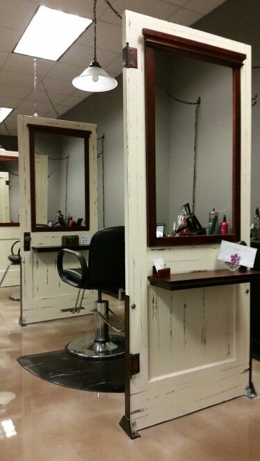 Salon stations made with antique repurposed doors at Calming Effects Health Spa #mycalmingeffects Kimball, MI www.calmingeffectsspalon.com