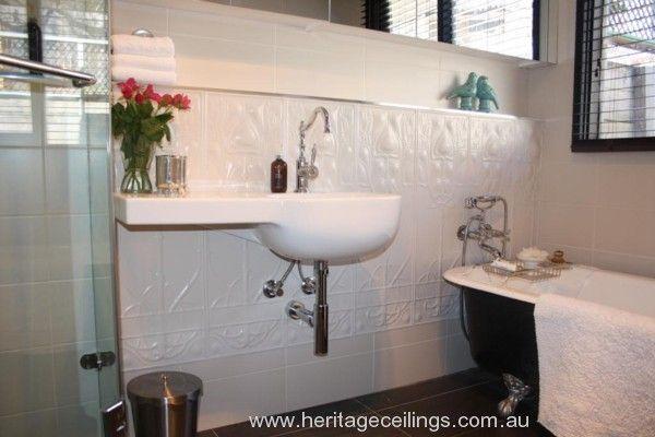 Classic bathroom style using pressed metal panels.  See: http://www.heritageceilings.com.au/tempat/art-nouveau.php