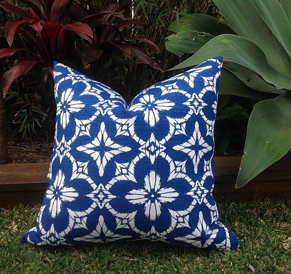 Blue and White Coastal Outdoor Cushions by IslandHomeEmporium