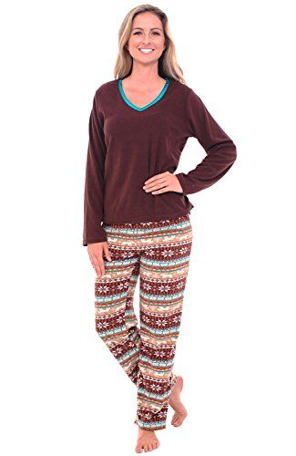 Women's Sleepwear - Del Rossa Womens Fleece Pajamas Long VNeck Pj Set -- Read more at the image link.