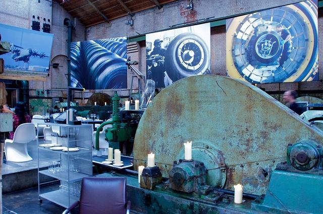 Industrial machine shop turned restaurant dining room.