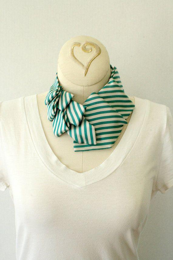 Womens Collar Scarf Neck Tie Green Stripes. by OgsploshAccessories, $30.00