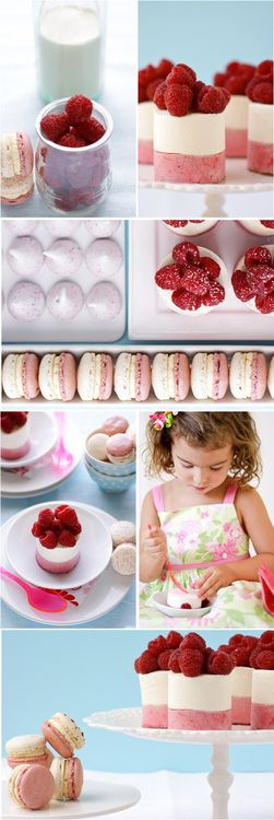 Raspberry Dessert Table Recipes {click picture for extra large view and recipes}  Raspberry and Yogurt Mousse Cakes Recipe  Raspberry Meringue Kisses Recipe  Raspberry N' Cream Macarons Recipe