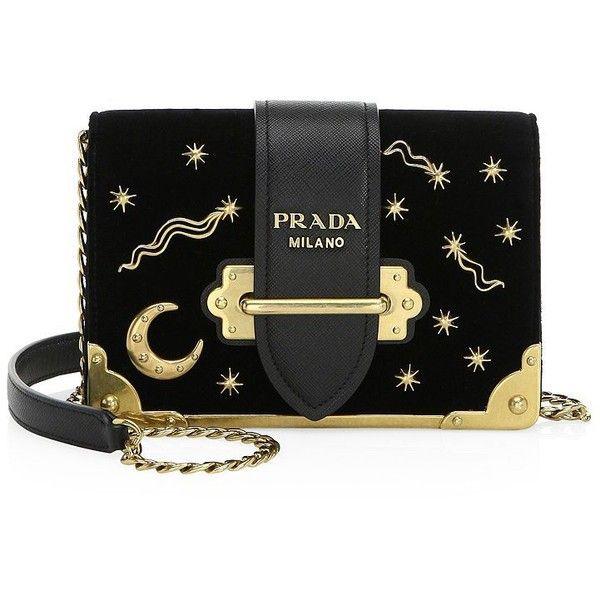 c3f1e05435b3 Prada Cahier Moon   Stars Velvet Crossbody Bag (7 110 PLN) ❤ liked on  Polyvore featuring bags