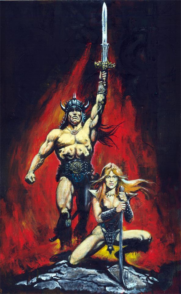 As i returned my attentions to painting I thought a great way to get back into the swing of things was to paint my old fave movie poster of Conan the Barbarian from the early 1980s.