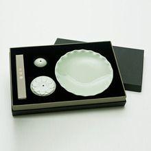 광주요 초록빛 연꽃 연잎 향꽂이 세트 / Kwangjuyo green lotus incense holder set / 34,200 won