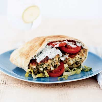 Enjoy the flavors of the Mediterranean from your desk with this healthy chicken burger recipe.