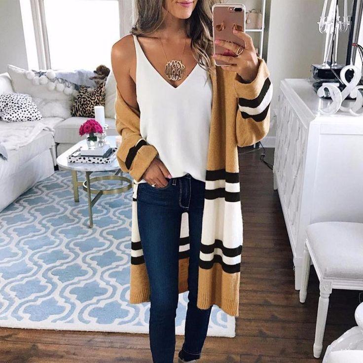 Long Sleeve Loose Striped Sweater Cardigan