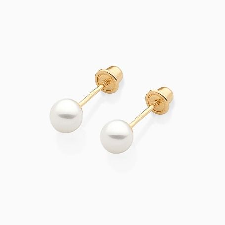 Pearl Stud Baby/Children's Earrings, Screw Back - 14K Gold