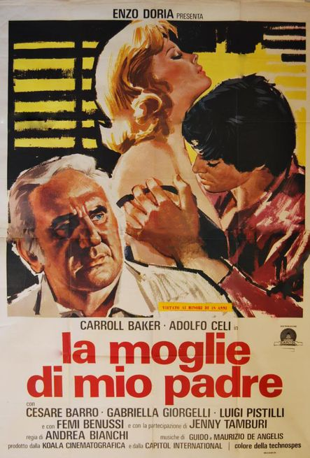 La moglie di mio padre , 1976 Italy . Drama , by  Andrea Bianchi  .  Laura (Carroll Baker 45-y)  has a short-lived affair with her stepson Claudio (Cesare Barro).