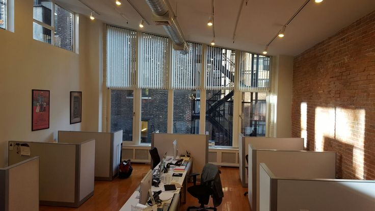 Angled windows? No problem! NY City Blinds installed vertical blinds on this window.