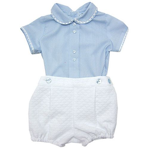 La Rosabelle - Blue Gingham Polo Shirt and Shorts Spanish Baby Set