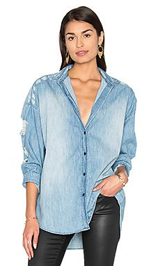 IRO . JEANS Emira Distressed Button Up in Blue