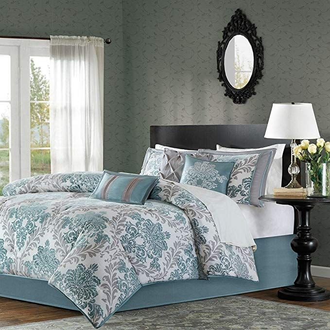 Comforter Sets For Adults Aqua Blue Bedding 7 Piece Damask Luxury Comforter Set Queen King Blue Comforter Sets Queen Luxury Comforter Sets Blue Comforter Sets