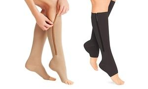 Groupon - Zip-Up Open-Toe Compression Socks (2-Pairs)  . Groupon deal price…