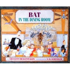 """I am so sorry this 2003 book is out of print. Definitely my favorite for read-alopuds at school visits. """"A bat flew into the dining room / at the hotel restaurant, by the lake./ Mistake."""" Only """"strange Melissa, at school they called her weird"""" is able to free the bat from the restaurant's pandemonium of frightened diners. School Library Journal:"""" ...an evocative, lyrical prose poem in this tale of one frantic flying mammal and one quiet young girl who really cares what happens to it"""""""