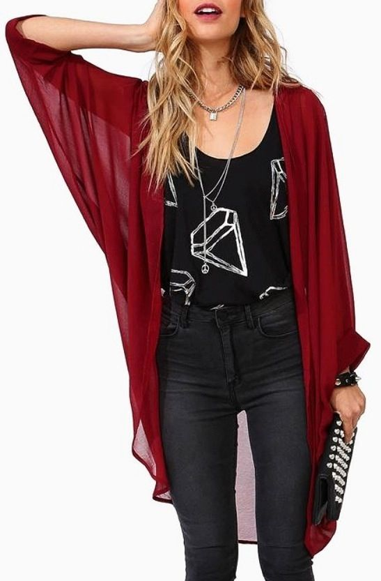 long red chiffon cardigan