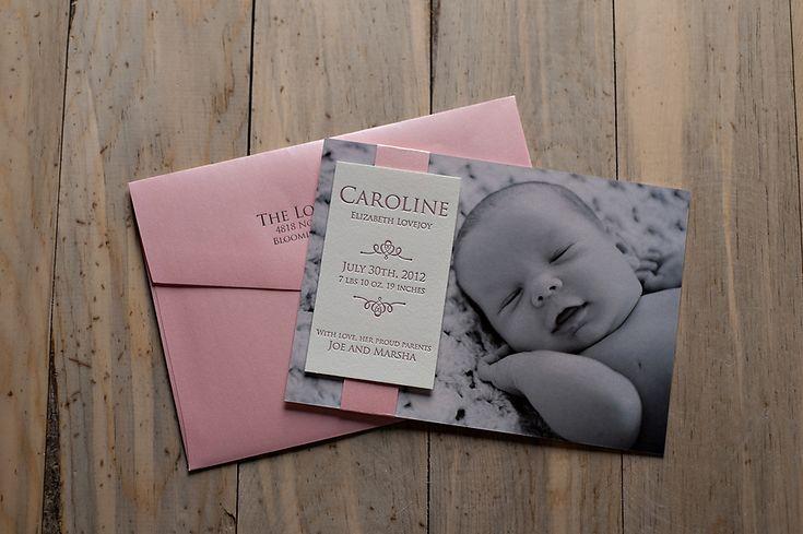 Custom Birth Announcements   Photo and Letterpress Birth Announcements