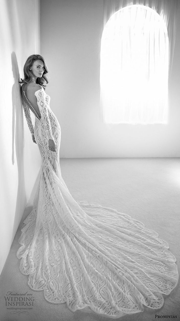 atelier pronovias 2018 bridal long sleeves sweetheart neckline full embellishment elegant fit and flare wedding dress sheer button back chapel train (3) bv -- Atelier Pronovias 2018 Wedding Dresses