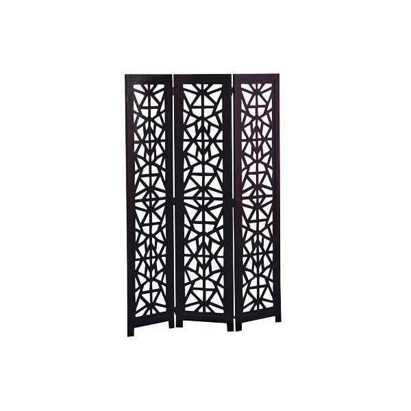3 panel folding screen room divider partition dark wood found on polyvore featuring polyvore home