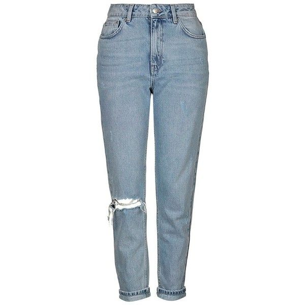 Topshop Ripped High Rise Mom Jeans (£56) ❤ liked on Polyvore featuring jeans, pants, tall jeans, distressed jeans, high waisted jeans, blue ripped jeans and destroyed jeans