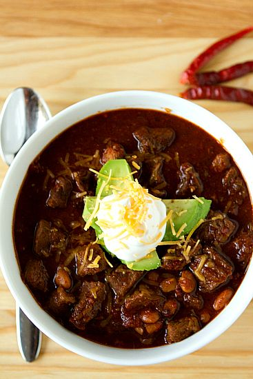 Best Chili Recipe Ever:  Uses steak or roast, homemade chili powder and paste, molasses and beer.    Great for a snowy Saturday- NOT quick meal.
