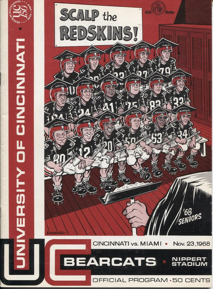University of Cincinnati vs. Miami University November 23, 1968 Football Program. The cover depicts the University of Cincinnati football team's graduating seniors. #MiamiUniversity #UniversityofCincinnati #CollegeFootball #MACConference #HistoryHarvest