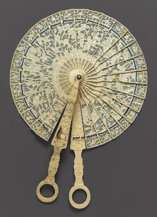 Chinese circular brisé fan with carved and pierced ivory sticks, white and dark and light blue silk connecting ribbon, c. 1790
